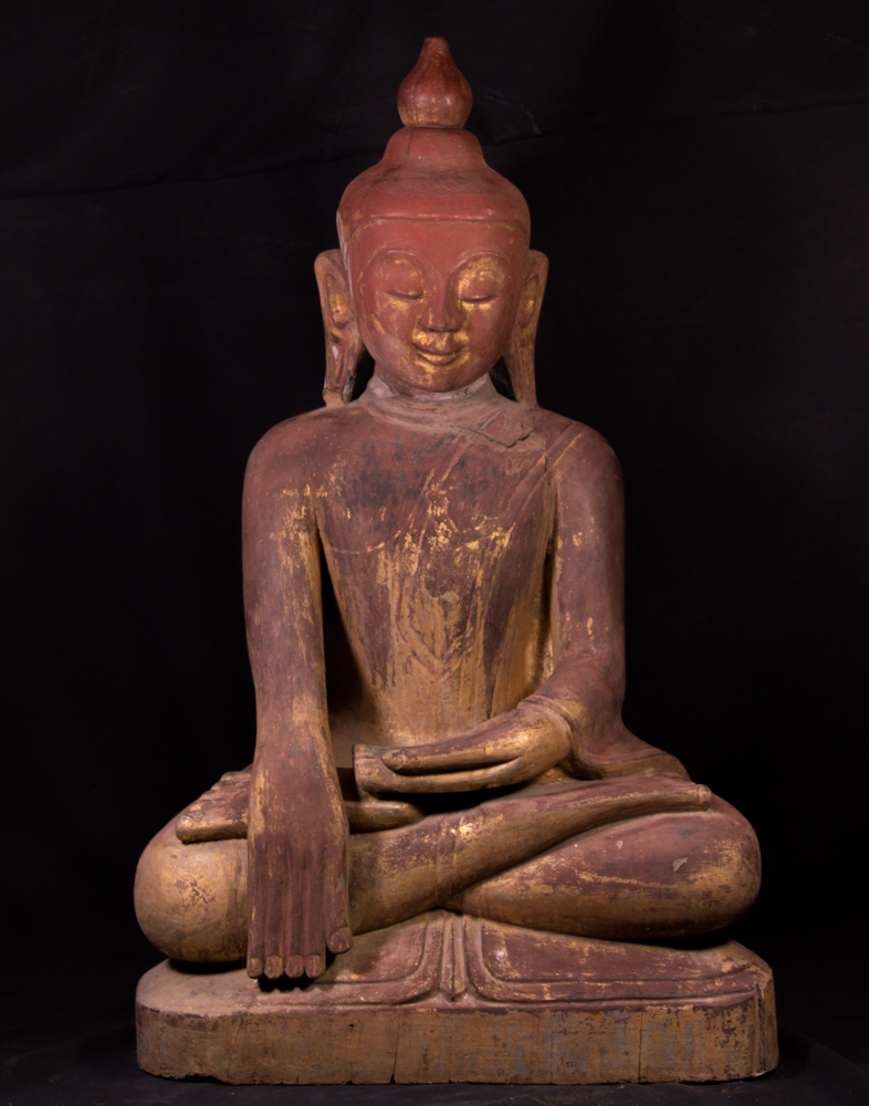 Antique wooden Ava Buddha statue from Burma
