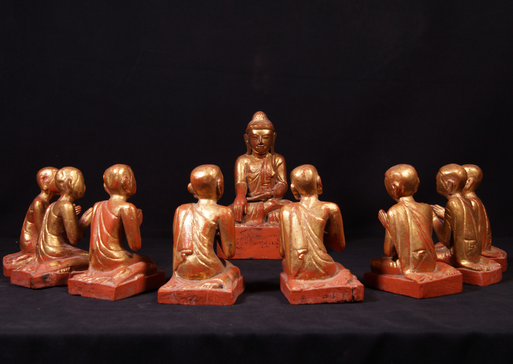 Antique Buddha with monk statues - set from Burma