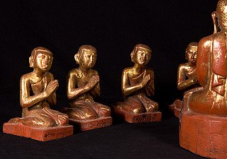 Antique Buddha with monk statues - set