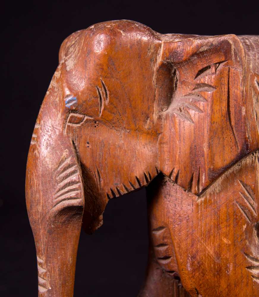 Old teakwooden elephant from Burma made from Wood