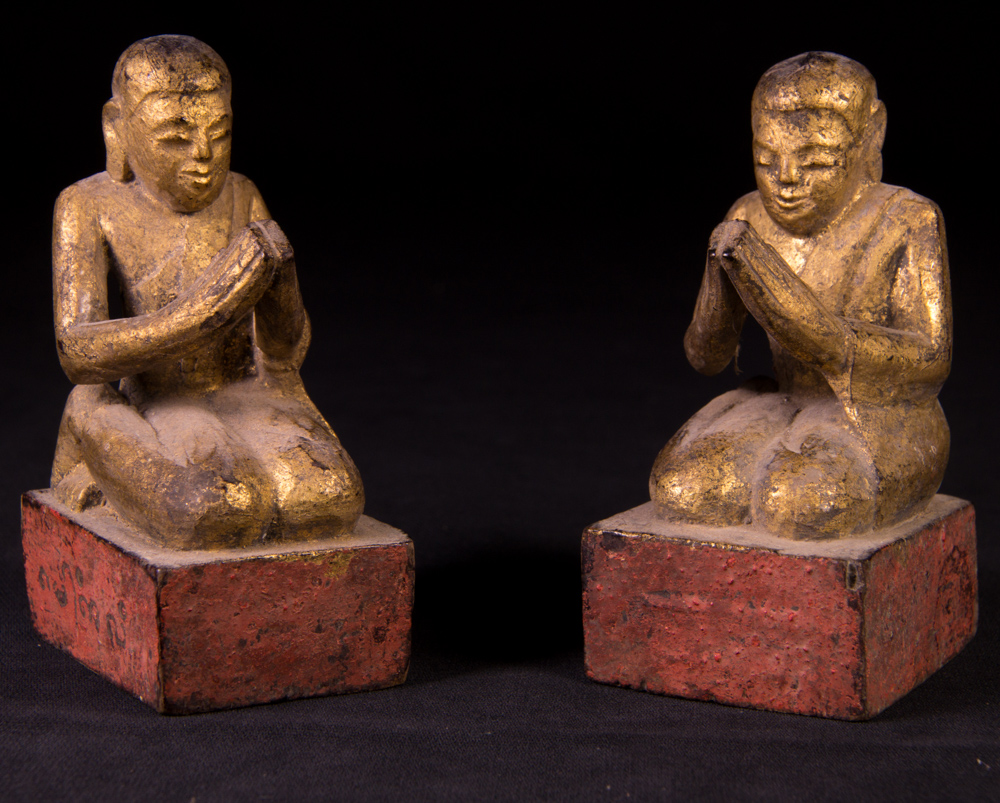 Antique pair of monk statues from Burma