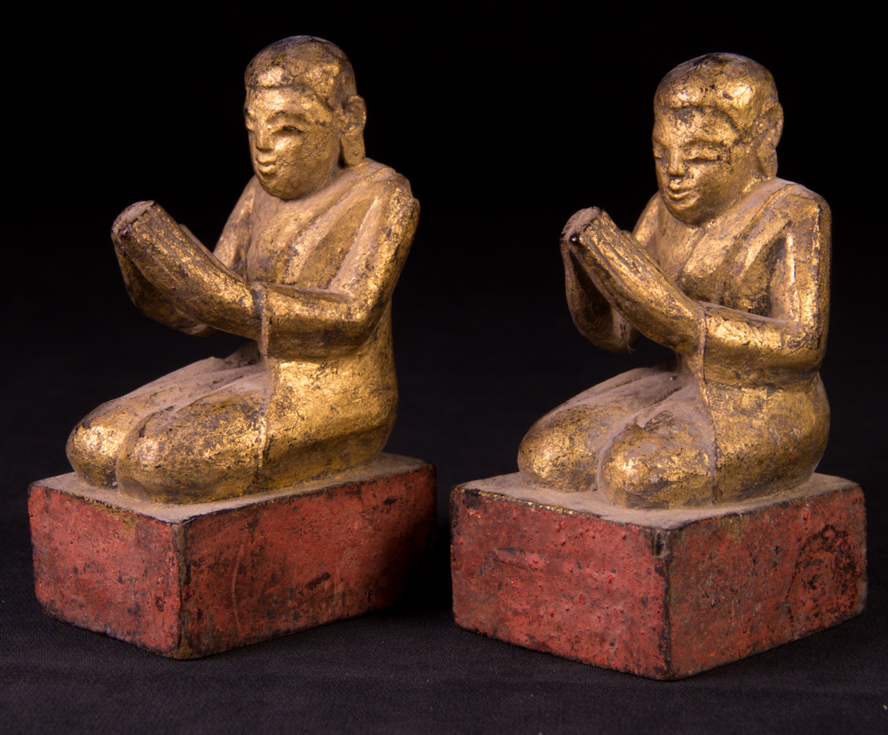 Antique pair of monk statues from Burma made from Wood