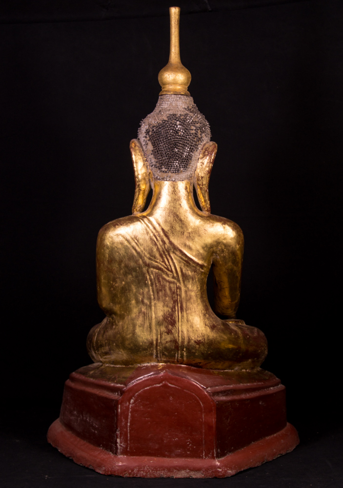 Antique Burmese Buddha statue from Burma made from lacquer
