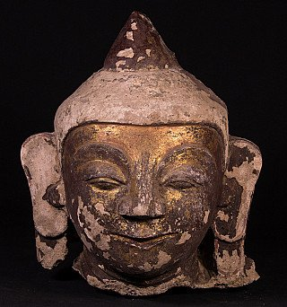 Antique Burmese stucco Buddha head