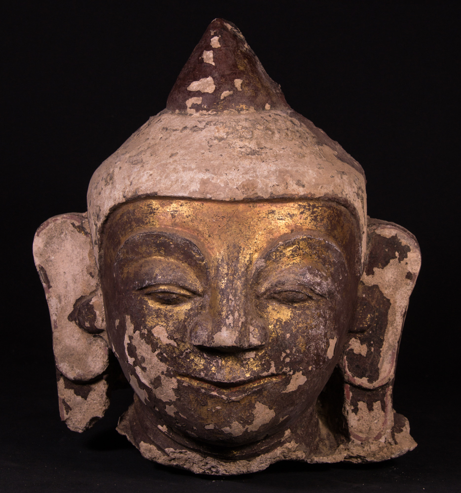 Antique Burmese stucco Buddha head from Burma