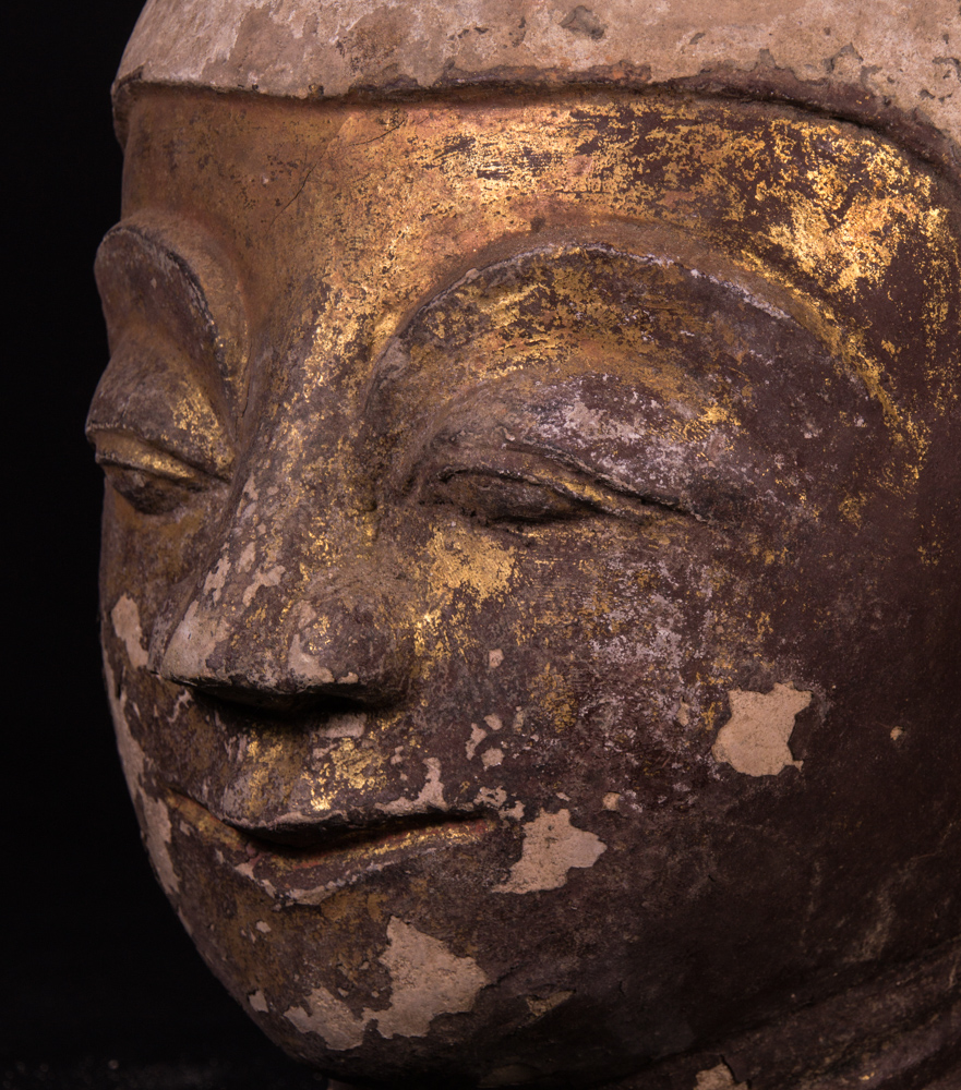 Antique Burmese stucco Buddha head from Burma made from Stucco