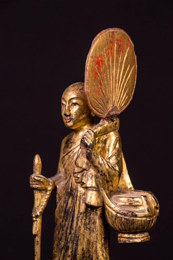 Antique Burmese monk statue from Burma made from Wood