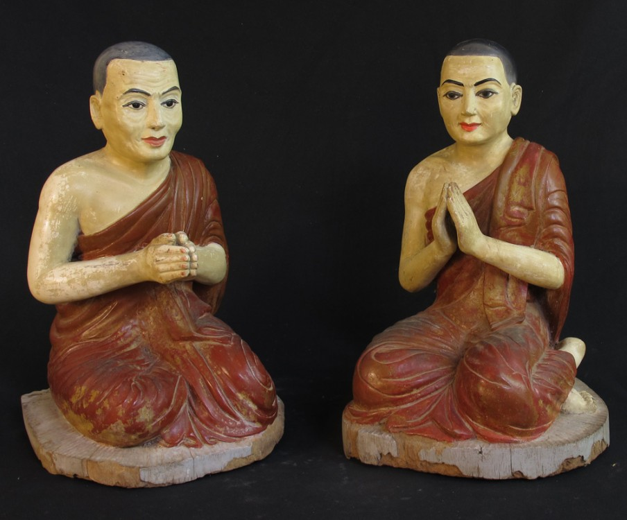 Pair of 19th century monk statues from Burma