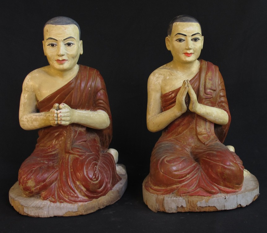 Pair of 19th century monk statues from Burma made from Wood