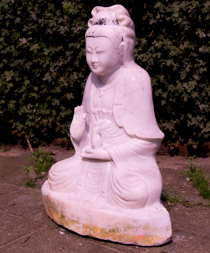 Old marble Guan Yin statue from Burma made from Marble