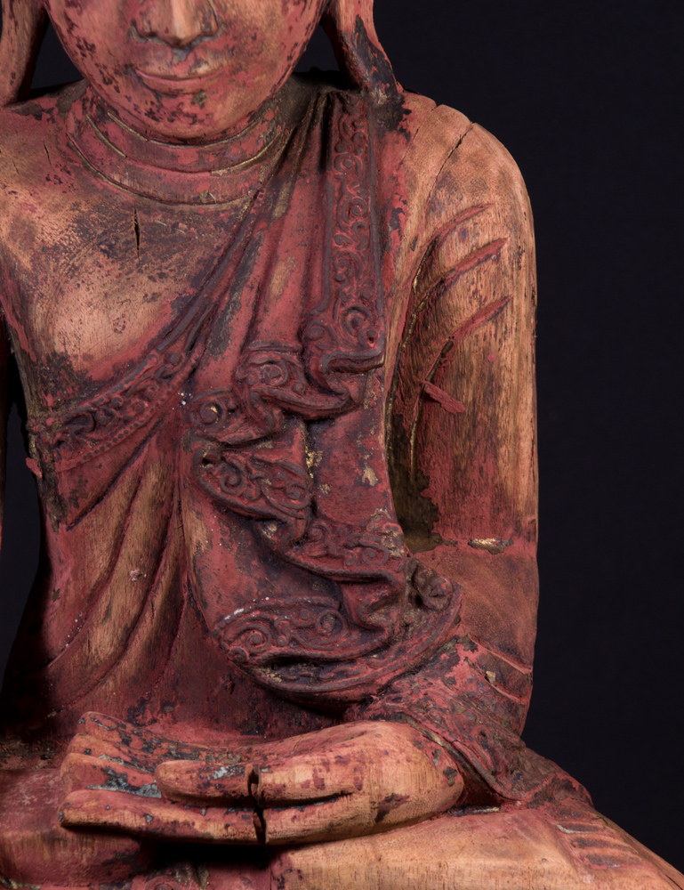 Old wooden Mandalay Buddha statue from Burma made from Wood