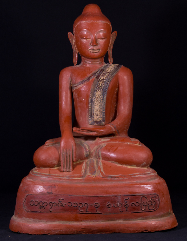 Old lacquerware Buddha statue from Burma