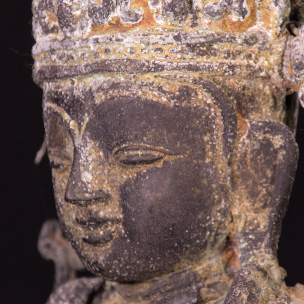 Old bronze crowned Buddha statue from Burma made from Bronze