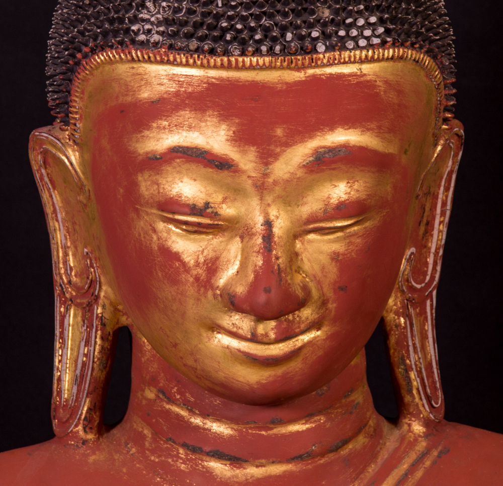 Large antique Ava Buddha statue from Burma made from lacquer