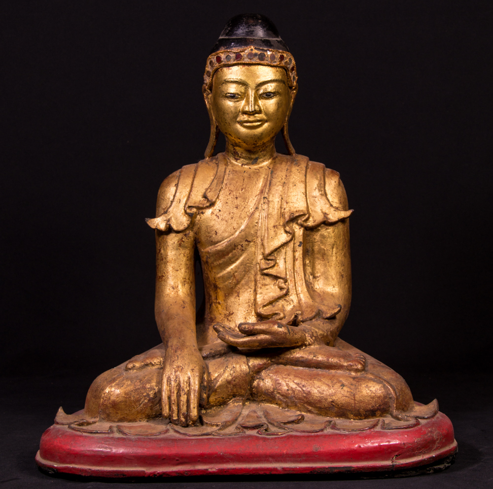 Antique Mon Buddha from Burma made from Bronze
