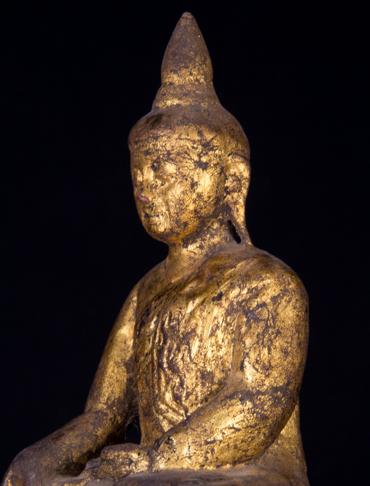 Antique wooden Shan Buddha statue from Burma made from Wood