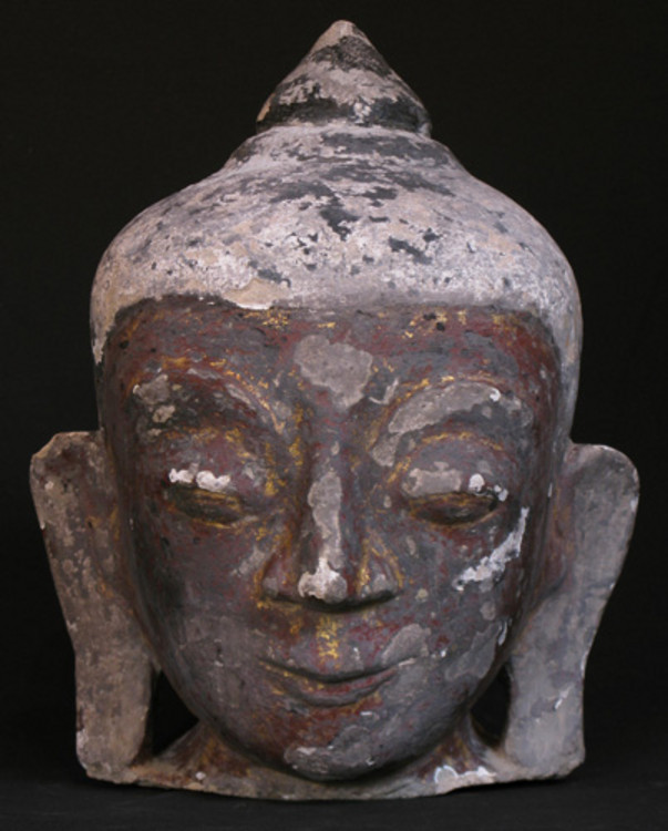 Antique Buddha head from Burma made from Sandstone
