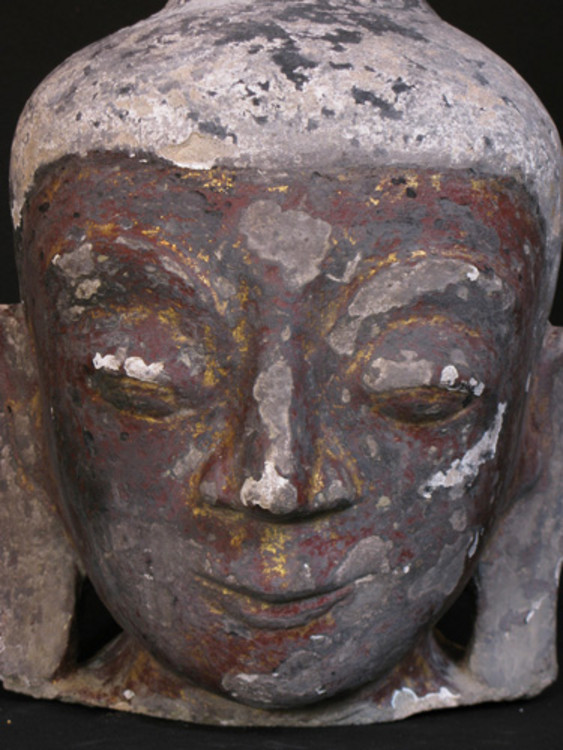 Antique Stucco Buddha head from Burma made from Stucco