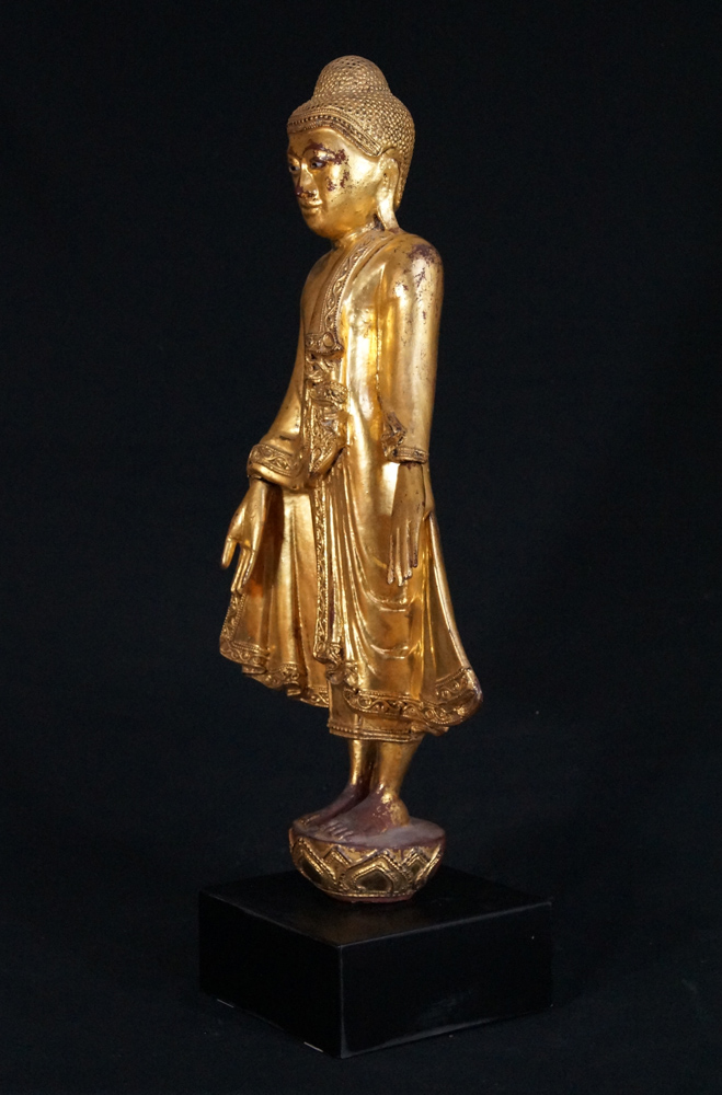 Antique standing Mandalay Buddha from Burma made from Wood