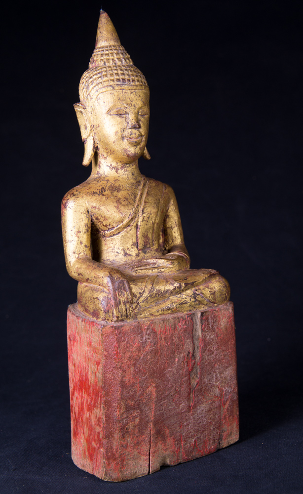 Antique Thai Buddha statue from Thailand made from Wood