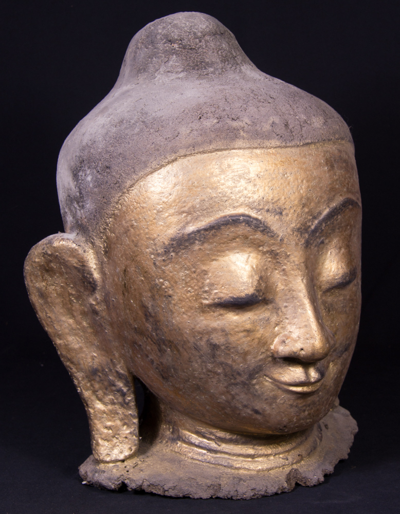 Old Burmese Buddha head from Burma made from lacquer