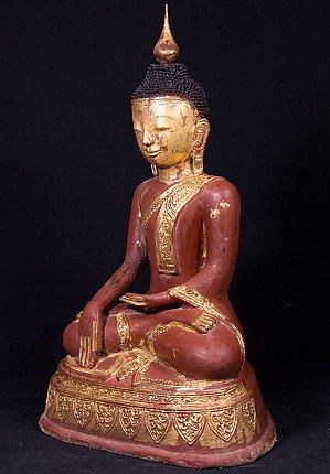 Old lacquerware Burmese Buddha statue