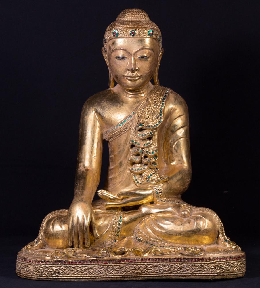 Alte birmanische buddha figur aus birma gemacht aus holz for Buddha figur holz
