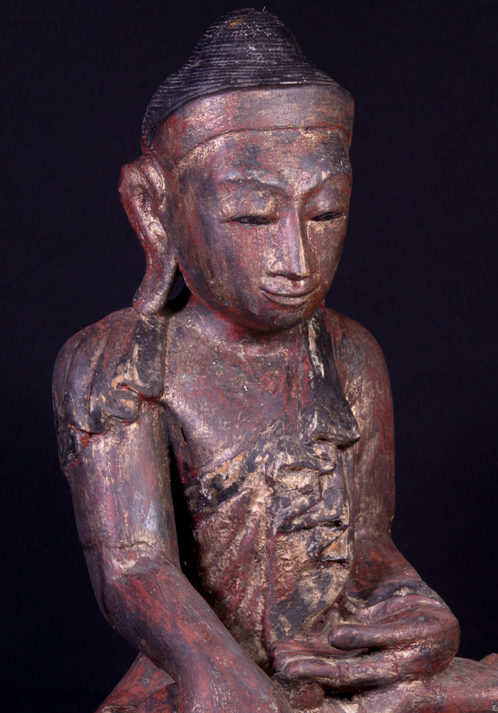 Antique wooden Mandalay Buddha statue from Burma made from Wood