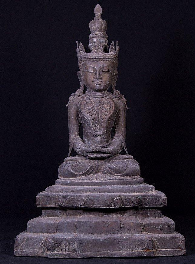 Alte bronze Arakan Buddha Figur