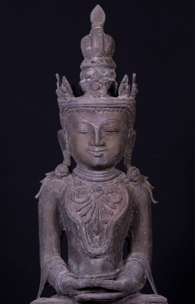 Old Burmese Arakan Buddha statue from Burma made from Bronze