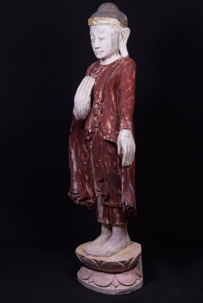 Old standing Mandalay Buddha statue from Burma made from Wood