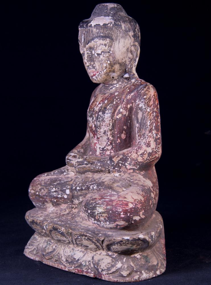 alte sitzende buddha figur aus birma gemacht aus holz. Black Bedroom Furniture Sets. Home Design Ideas