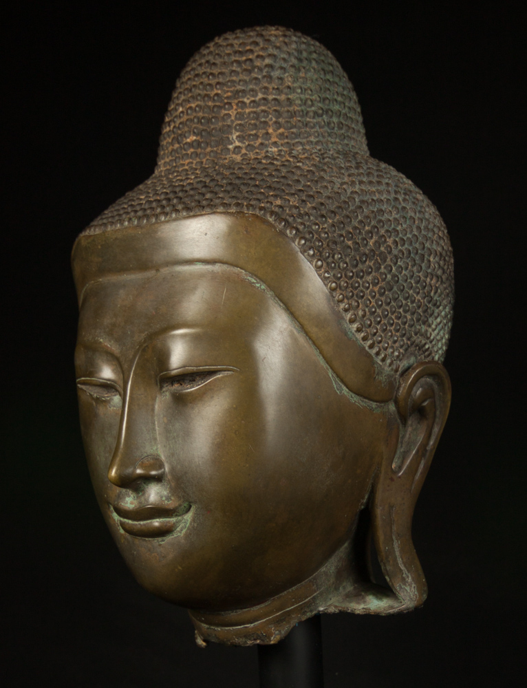 Antique bronze Mandalay Buddha head from Burma made from Bronze