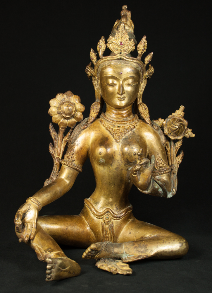 Old bronze Tara statue from Nepal