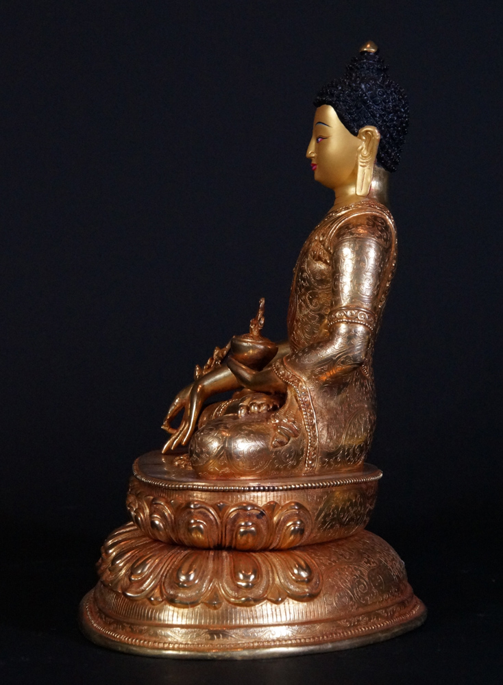 Copper Medicine Buddha statue from Nepal made from Copper