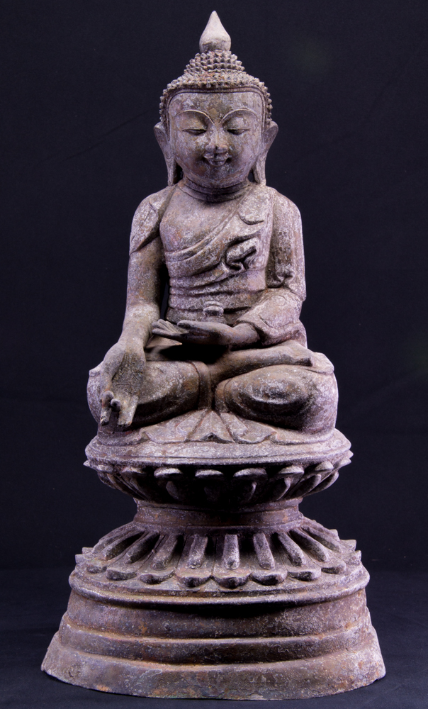 Old bronze Shan Buddha statue from Burma