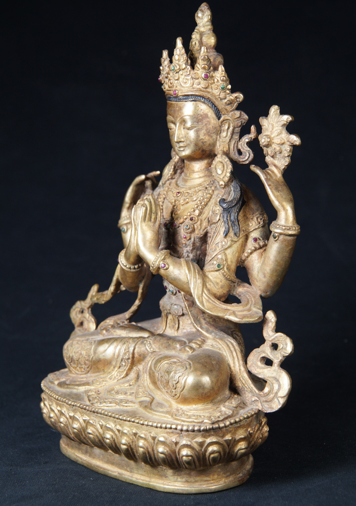 Old Nepali Chengresi statue from Nepal made from Bronze