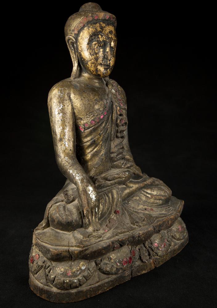 Alte Holzerne Buddha Figur Aus Birma Gemacht Aus Holz