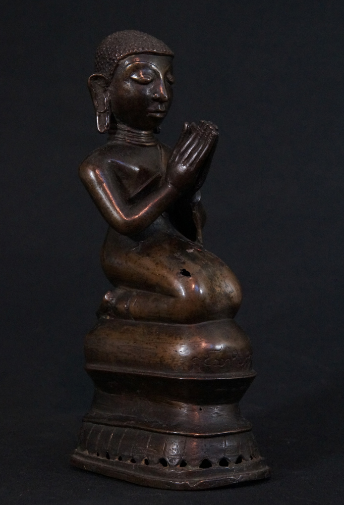 Antique Burmese monk statue from Burma made from Bronze