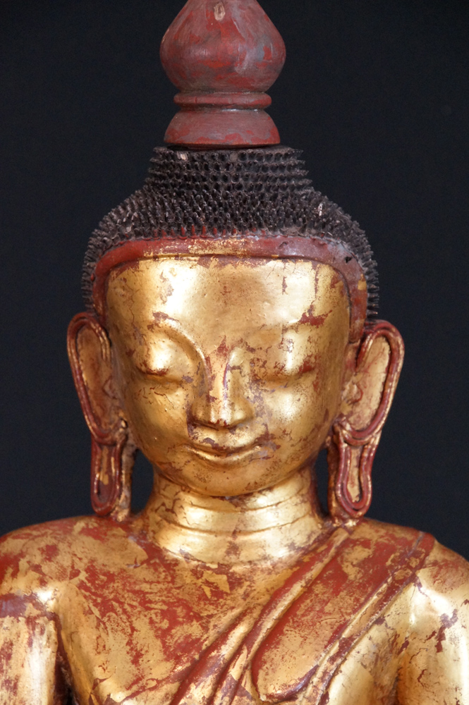 Old Burmese Buddha from Burma made from lacquer