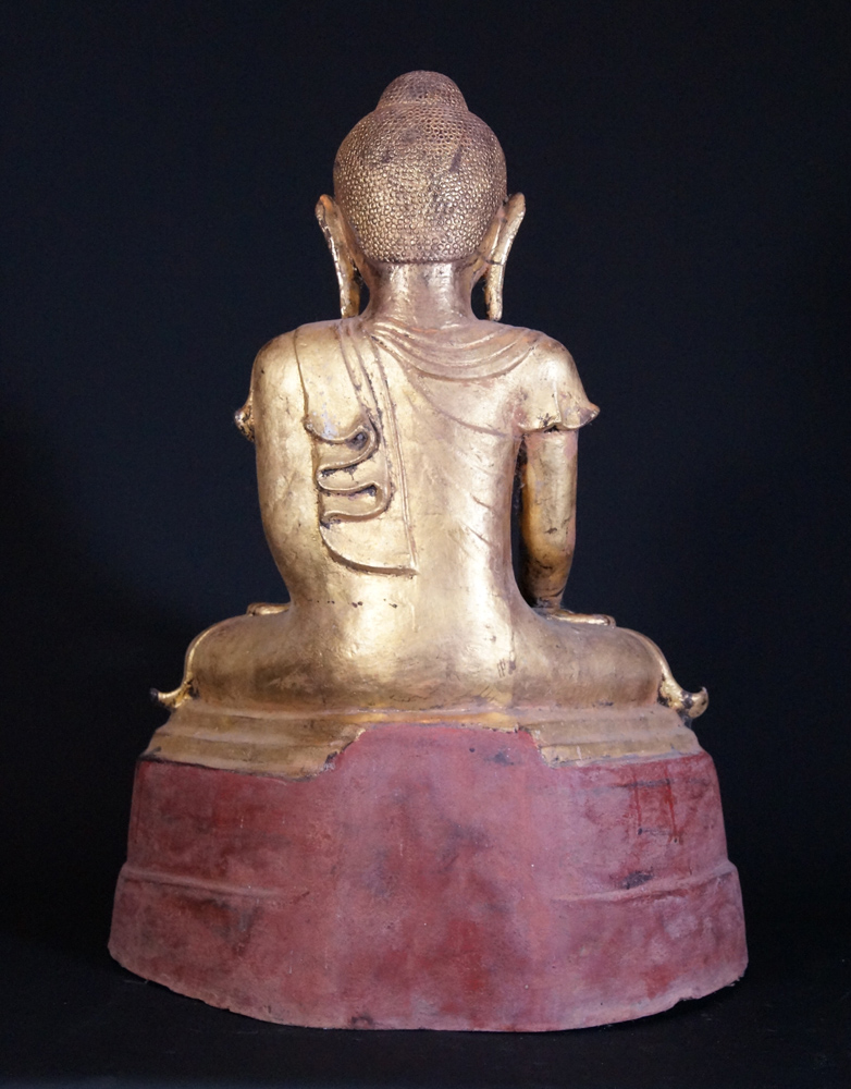 Old lacquer Burmese Buddha statue from Burma made from lacquer