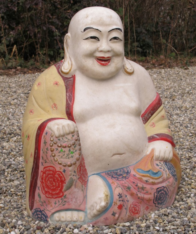 Old Happy Buddha from Burma made from Marble