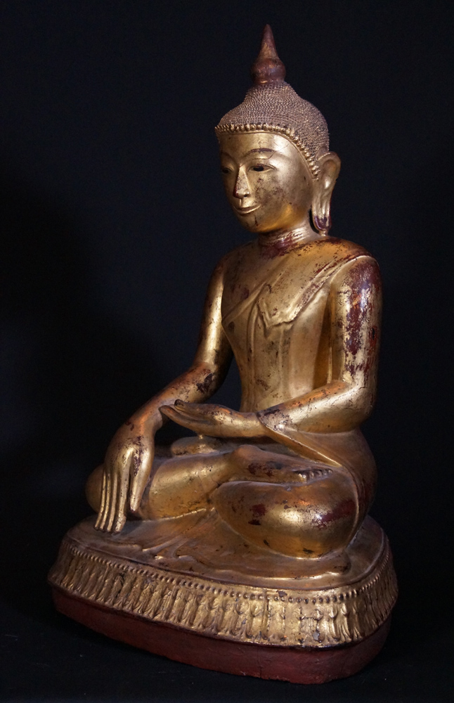 Antique Ava Buddha statue from Burma made from lacquer