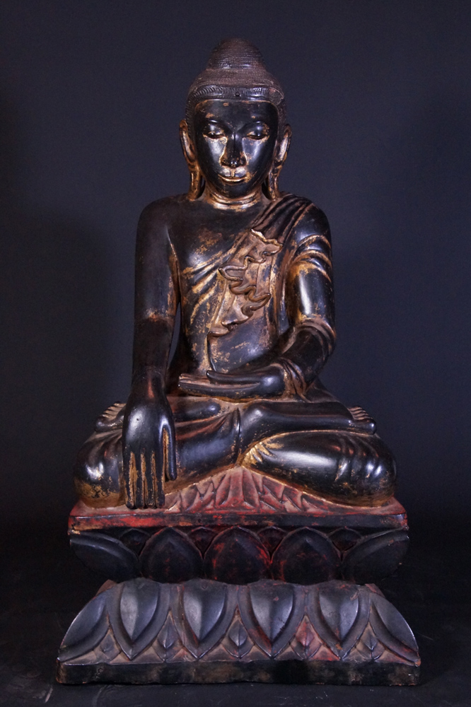 Large antique wooden Buddha statue from Burma