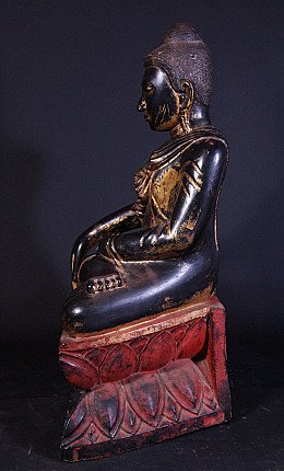 Large antique wooden Buddha statue
