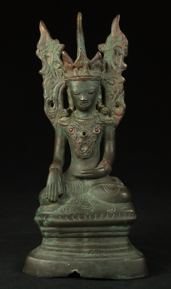 Old crowned Buddha statue from Burma