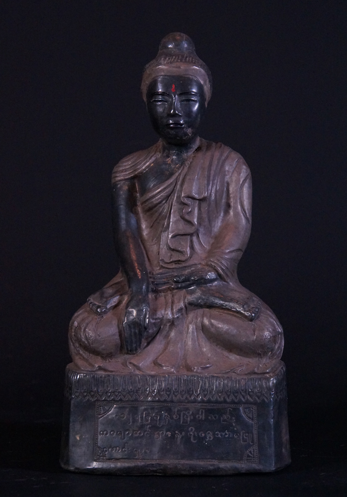 Antique silver Buddha statue from Burma