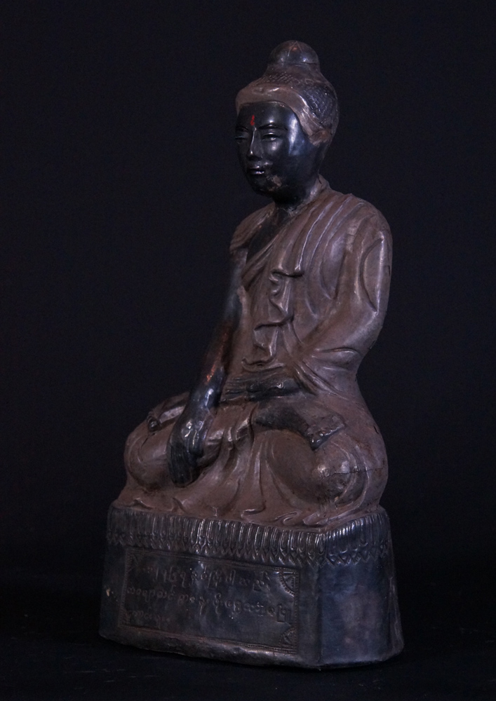 Antique silver Buddha statue from Burma made from Silver
