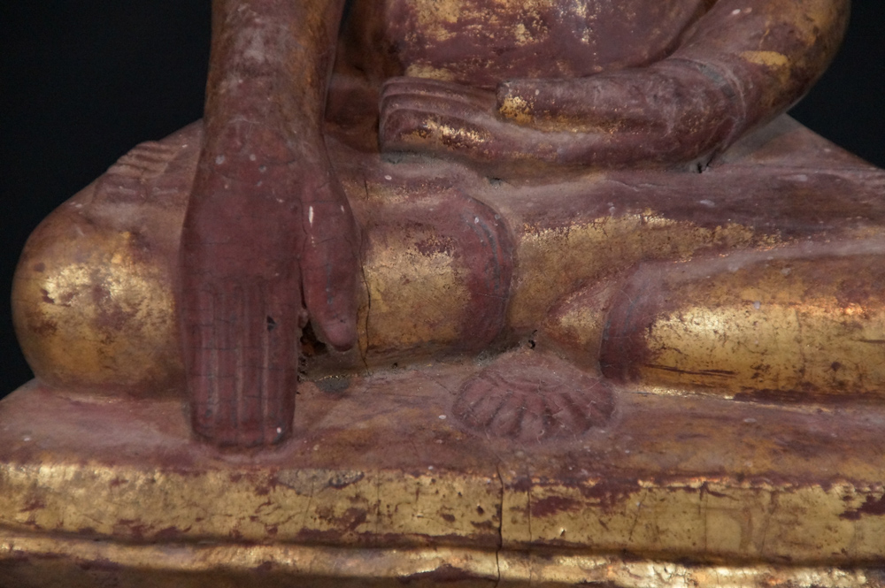 Antique wooden Shan Buddha from Burma made from Wood