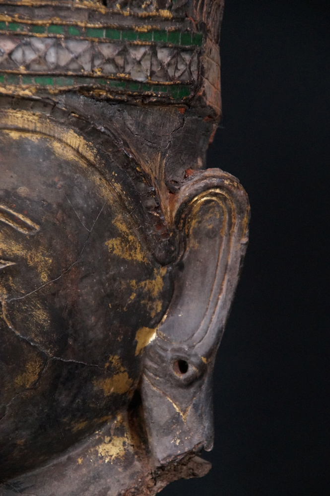 18th century Shan Buddha head from Burma made from lacquer